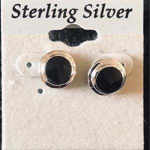 Earrings- Sterling Silver with black stone